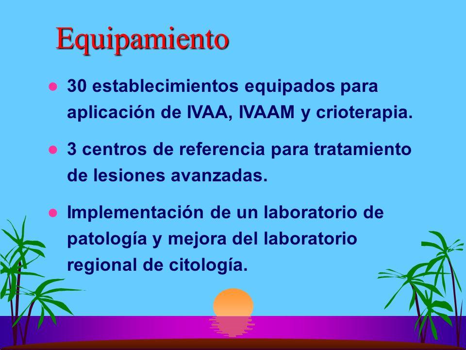 Equipamiento 30 establecimientos equipados para aplicación de IVAA, IVAAM y crioterapia. 3 centros de referencia para tratamiento de lesiones avanzada