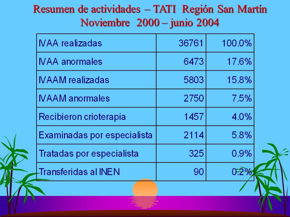 Resumen de actividades – TATI Región San Martín Noviembre 2000 – junio 2004