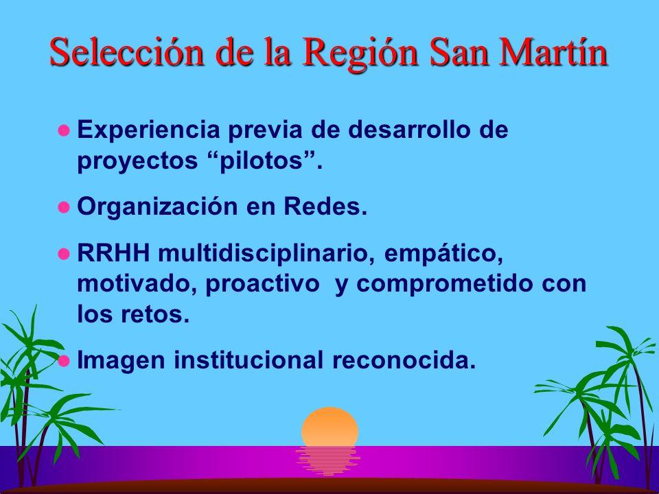Selección de la Región San Martín Experiencia previa de desarrollo de proyectos pilotos. Organización en Redes. RRHH multidisciplinario, empático, mot