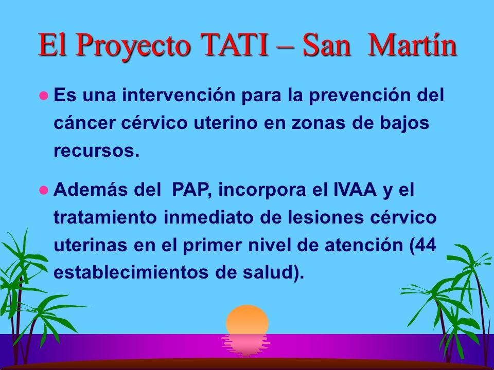 El Proyecto TATI – San Martín Es una intervención para la prevención del cáncer cérvico uterino en zonas de bajos recursos. Además del PAP, incorpora