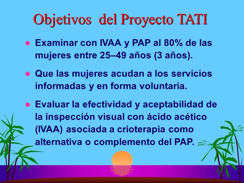 Objetivos del Proyecto TATI Examinar con IVAA y PAP al 80% de las mujeres entre 25–49 años (3 años). Que las mujeres acudan a los servicios informadas