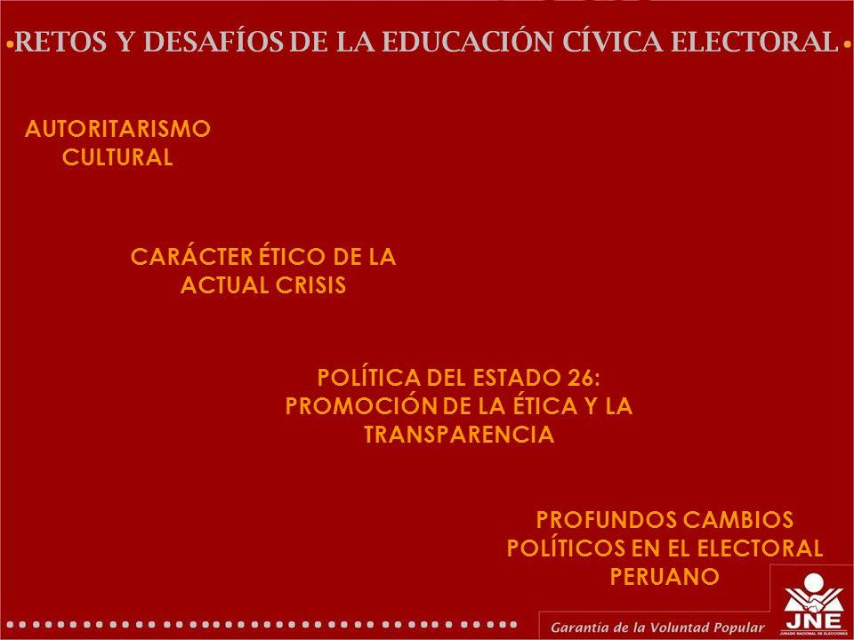 GERENCIA DE EDUCACIÓN ELECTORAL Y COMUNICACIONES AUTORITARISMO CULTURAL (*) RETOS Y DESAFÍOS DE LA EDUCACIÓN CÍVICA ELECTORAL Larga tradición autoritaria, elevado nivel de precariedad de la educación y medio de comunicación difusores de incultura y vulgaridad.
