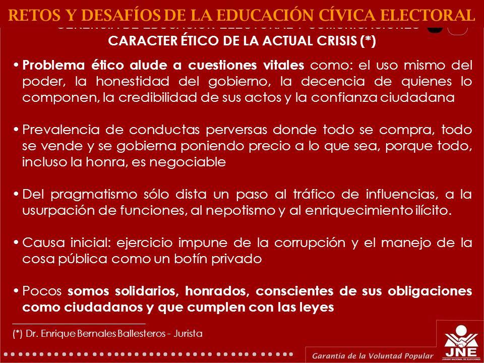GERENCIA DE EDUCACIÓN ELECTORAL Y COMUNICACIONES POLÍTICA DE ESTADO 26: PROMOCIÓN DE LA ÉTICA Y LA TRANSPARENCIA RETOS Y DESAFÍOS DE LA EDUCACIÓN CÍVICA ELECTORAL 1.Ley de Código de Ética de la Función Pública (Ley N° 27815: falta reglamento para aplicación de sanciones 2.Posibilidad de fomentar desde el Estado la ética en el sector privado 3.El 91% de peruanos cree que el país es corrupto.