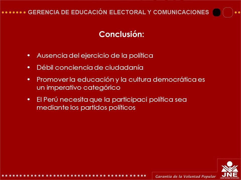 GERENCIA DE EDUCACIÓN ELECTORAL Y COMUNICACIONES Ausencia del ejercicio de la política Débil conciencia de ciudadanía Promover la educación y la cultu
