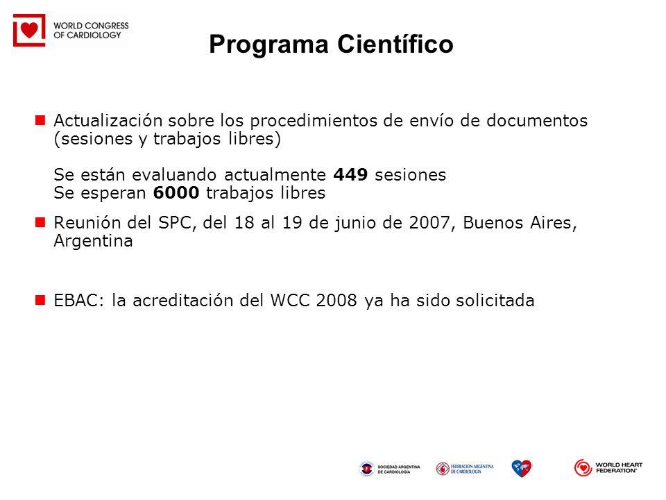 Actualización sobre los procedimientos de envío de documentos (sesiones y trabajos libres) Se están evaluando actualmente 449 sesiones Se esperan 6000
