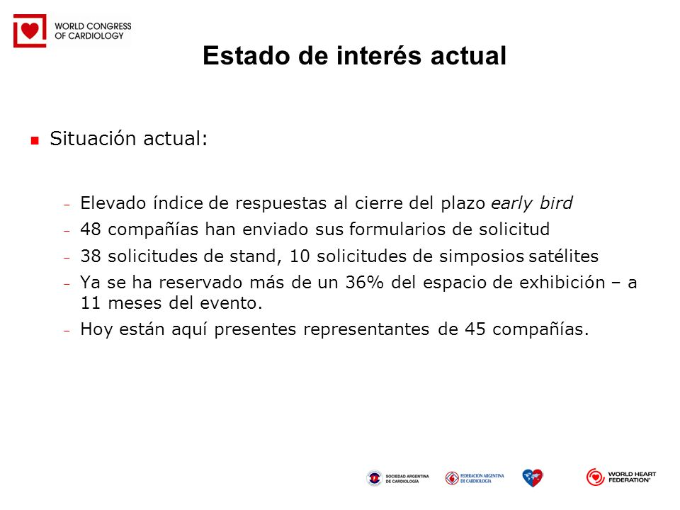 Situación actual: – Elevado índice de respuestas al cierre del plazo early bird – 48 compañías han enviado sus formularios de solicitud – 38 solicitud