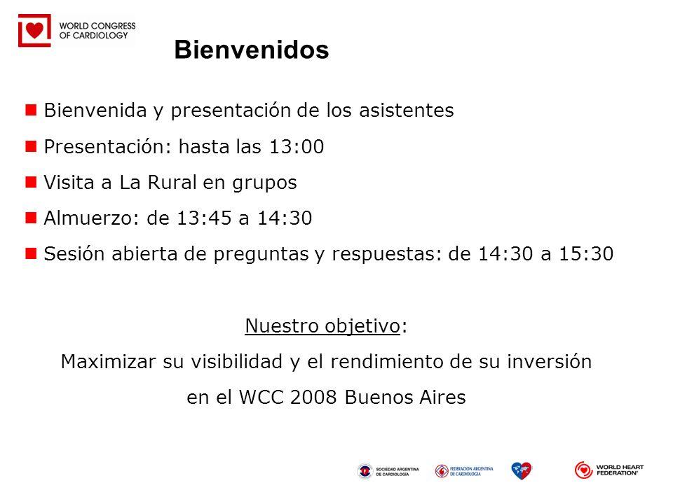 Bienvenida y presentación de los asistentes Presentación: hasta las 13:00 Visita a La Rural en grupos Almuerzo: de 13:45 a 14:30 Sesión abierta de pre