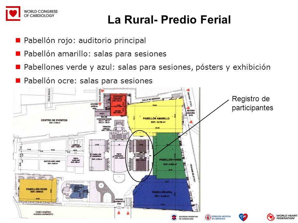 Pabellón rojo: auditorio principal Pabellón amarillo: salas para sesiones Pabellones verde y azul: salas para sesiones, pósters y exhibición Pabellón
