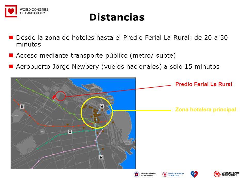 Zona hotelera principal Predio Ferial La Rural Desde la zona de hoteles hasta el Predio Ferial La Rural: de 20 a 30 minutos Acceso mediante transporte