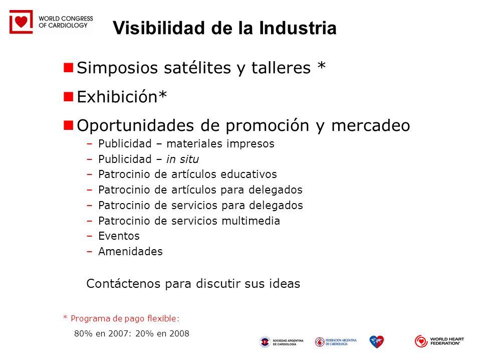 Simposios satélites y talleres * Exhibición* Oportunidades de promoción y mercadeo –Publicidad – materiales impresos –Publicidad – in situ –Patrocinio