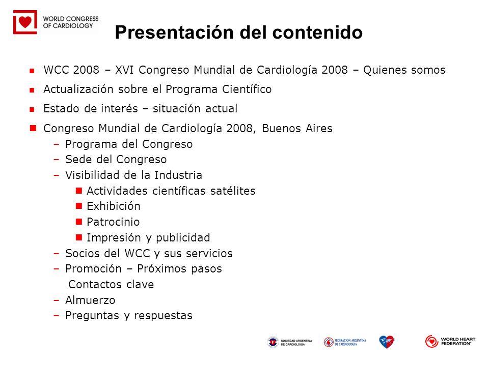 Actualización sobre los procedimientos de envío de documentos (sesiones y trabajos libres) Se están evaluando actualmente 449 sesiones Se esperan 6000 trabajos libres Reunión del SPC, del 18 al 19 de junio de 2007, Buenos Aires, Argentina EBAC: la acreditación del WCC 2008 ya ha sido solicitada Programa Científico