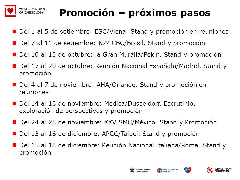 Promoción – próximos pasos Del 1 al 5 de setiembre: ESC/Viena. Stand y promoción en reuniones Del 7 al 11 de setiembre: 62º CBC/Brasil. Stand y promoc