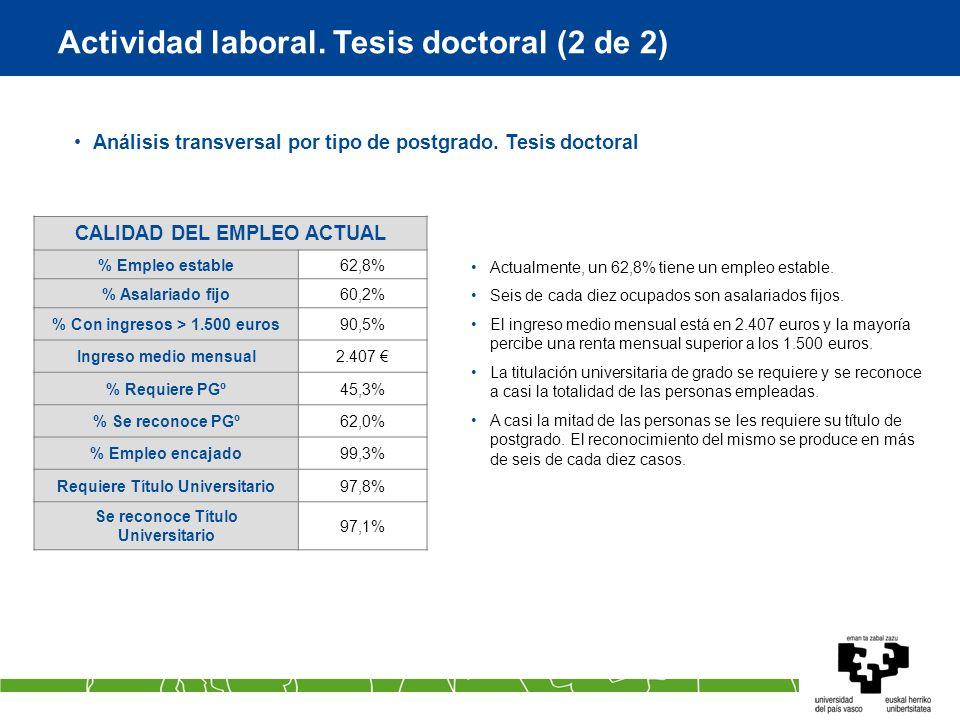 Actividad laboral. Tesis doctoral (2 de 2) Análisis transversal por tipo de postgrado. Tesis doctoral Actualmente, un 62,8% tiene un empleo estable. S