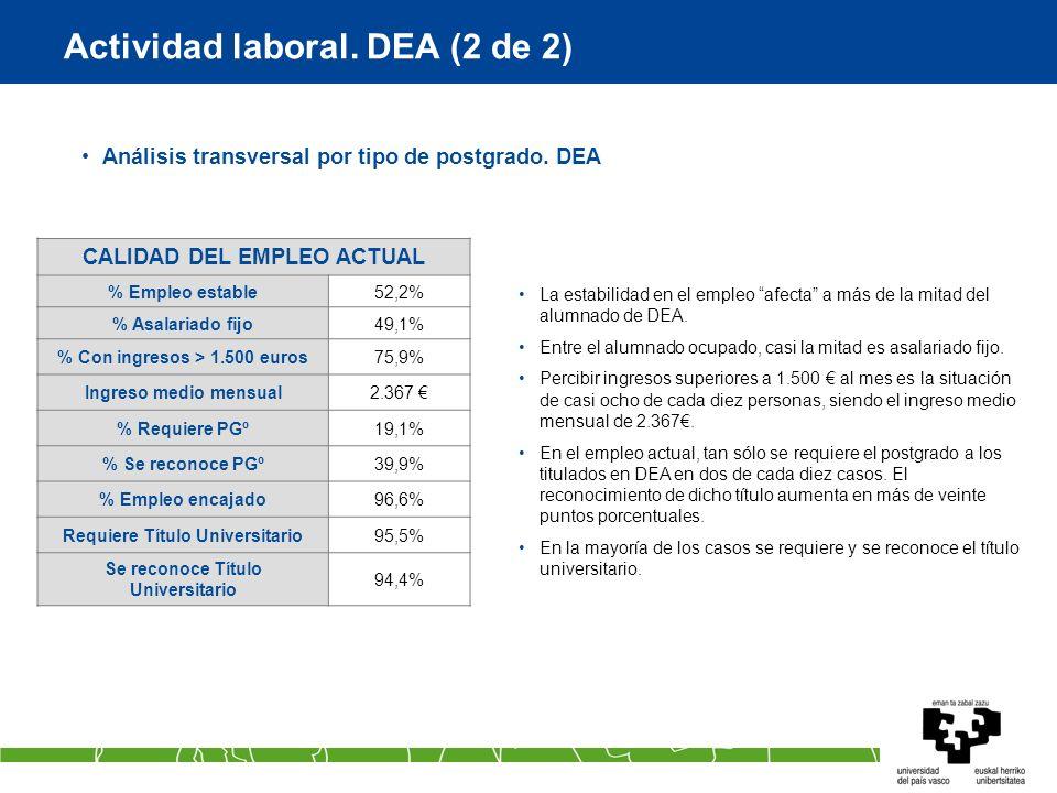 Actividad laboral. DEA (2 de 2) Análisis transversal por tipo de postgrado. DEA La estabilidad en el empleo afecta a más de la mitad del alumnado de D