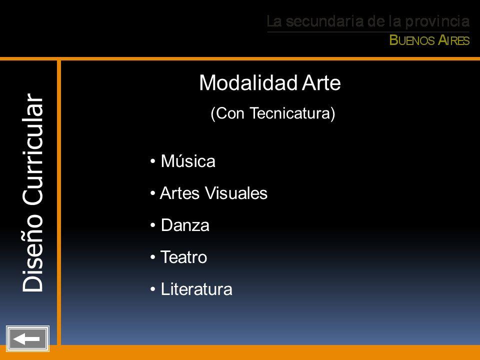 Diseño Curricular Modalidad Arte (Con Tecnicatura) Música Artes Visuales Danza Teatro Literatura