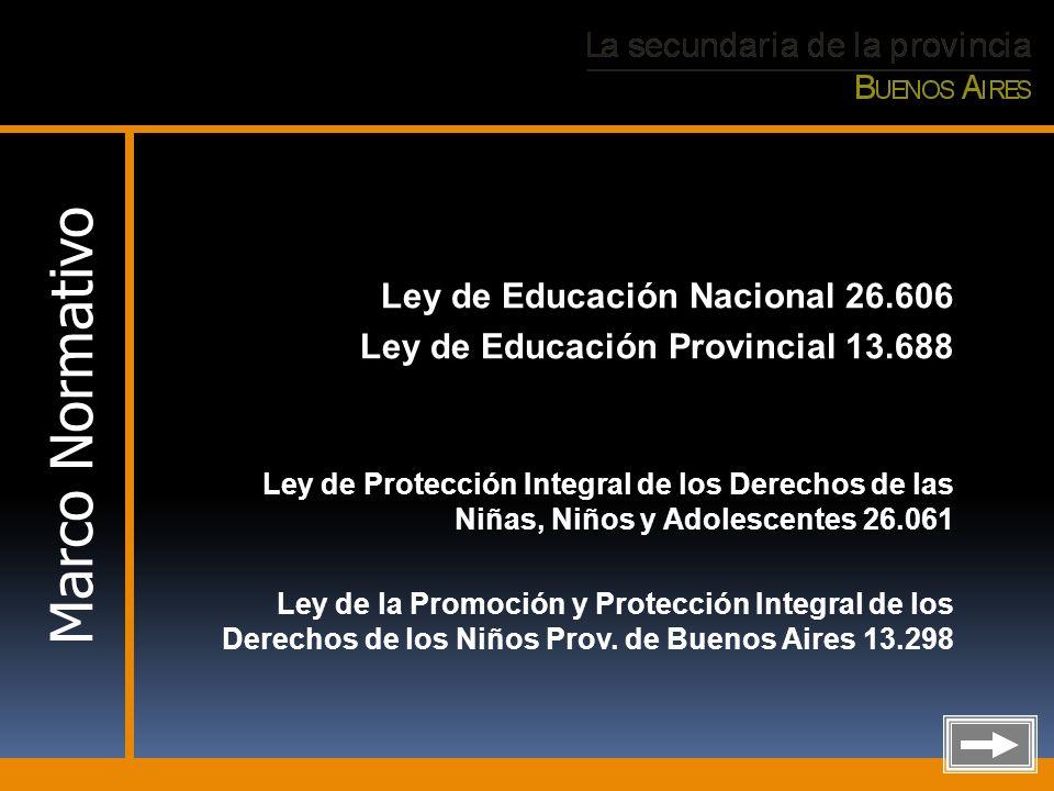 Ley de Educación Nacional 26.606 Ley de Educación Provincial 13.688 Ley de Protección Integral de los Derechos de las Niñas, Niños y Adolescentes 26.0