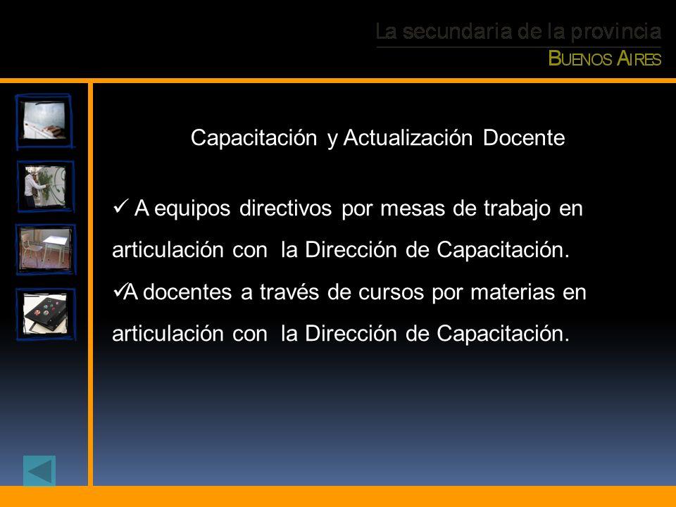A equipos directivos por mesas de trabajo en articulación con la Dirección de Capacitación. A docentes a través de cursos por materias en articulación