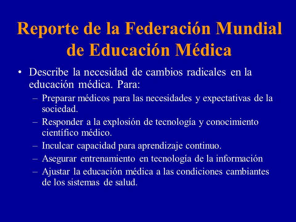 Reporte de la Federación Mundial de Educación Médica Describe la necesidad de cambios radicales en la educación médica. Para: –Preparar médicos para l