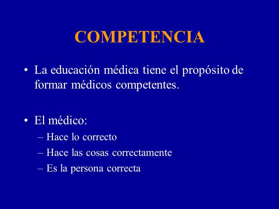 COMPETENCIA La educación médica tiene el propósito de formar médicos competentes. El médico: –Hace lo correcto –Hace las cosas correctamente –Es la pe