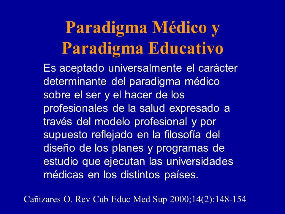 Es aceptado universalmente el carácter determinante del paradigma médico sobre el ser y el hacer de los profesionales de la salud expresado a través del modelo profesional y por supuesto reflejado en la filosofía del diseño de los planes y programas de estudio que ejecutan las universidades médicas en los distintos países.