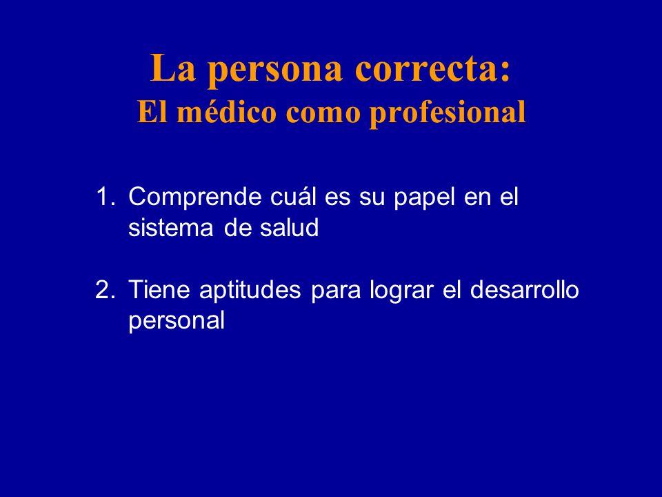 La persona correcta: El médico como profesional 1.Comprende cuál es su papel en el sistema de salud 2.Tiene aptitudes para lograr el desarrollo personal