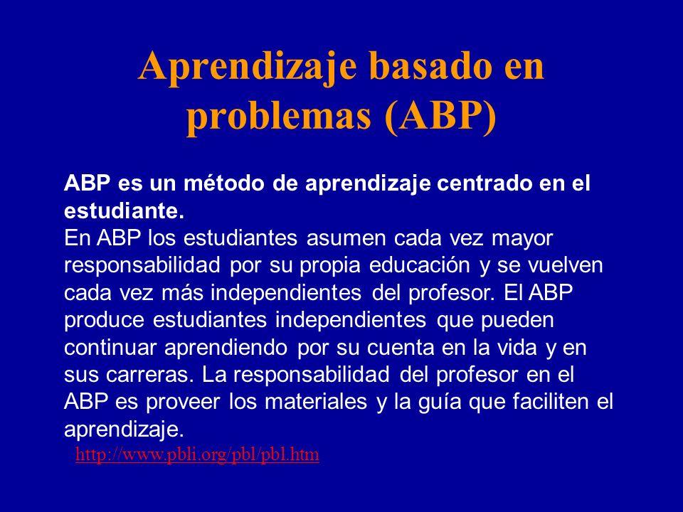 Aprendizaje basado en problemas (ABP) ABP es un método de aprendizaje centrado en el estudiante. En ABP los estudiantes asumen cada vez mayor responsa