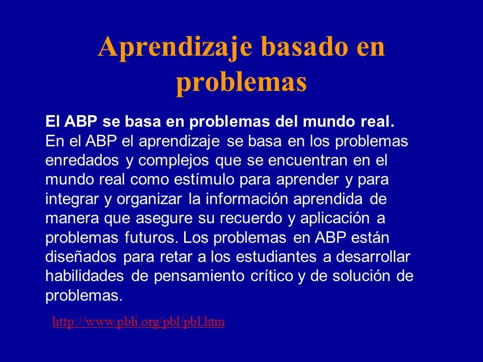 Aprendizaje basado en problemas El ABP se basa en problemas del mundo real. En el ABP el aprendizaje se basa en los problemas enredados y complejos qu