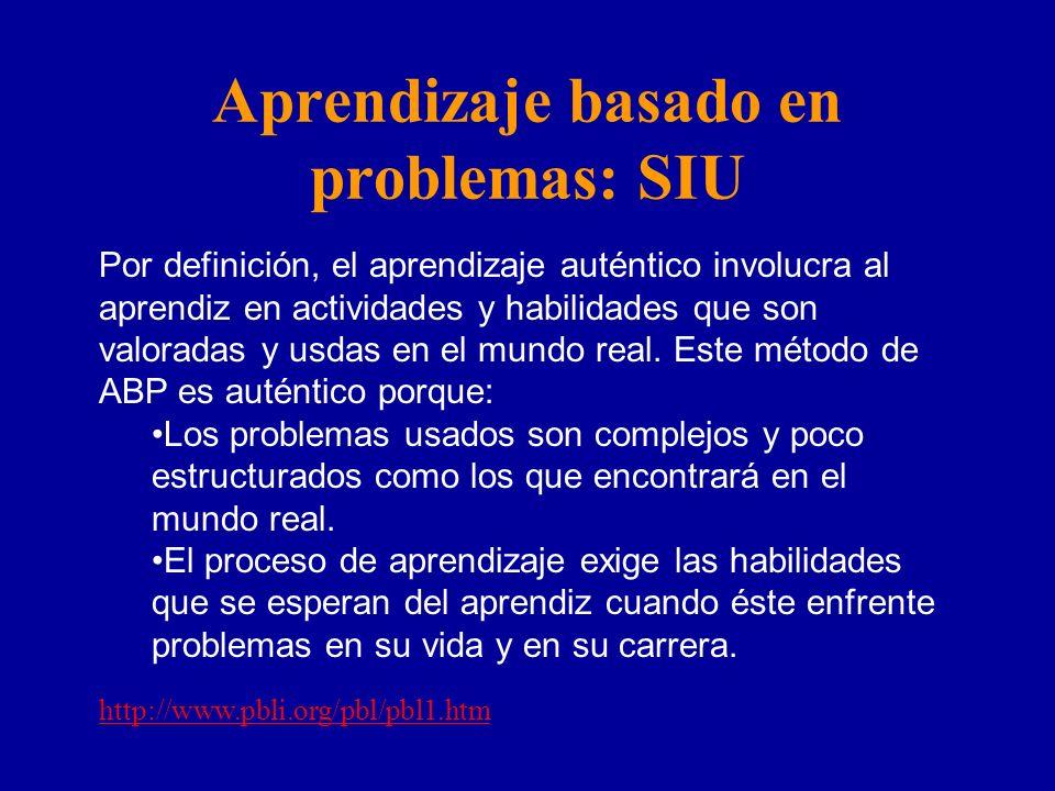 Aprendizaje basado en problemas: SIU Por definición, el aprendizaje auténtico involucra al aprendiz en actividades y habilidades que son valoradas y u