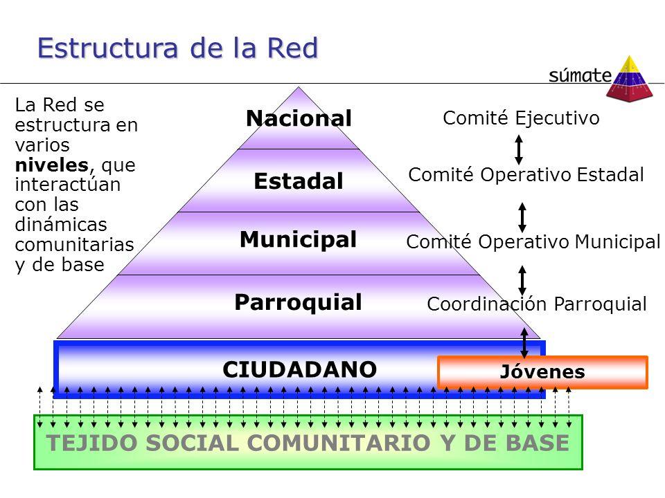 Estructura de la Red La Red se estructura en varios niveles, que interactúan con las dinámicas comunitarias y de base Comité Ejecutivo Comité Operativo Municipal Coordinación Parroquial TEJIDO SOCIAL COMUNITARIO Y DE BASE CIUDADANO Jóvenes Comité Operativo Estadal