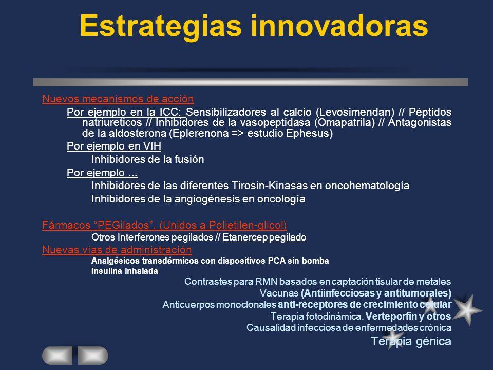 Estrategias innovadoras Nuevos mecanismos de acción Por ejemplo en la ICC: Sensibilizadores al calcio (Levosimendan) // Péptidos natriureticos // Inhibidores de la vasopeptidasa (Omapatrila) // Antagonistas de la aldosterona (Eplerenona => estudio Ephesus) Por ejemplo en VIH Inhibidores de la fusión Por ejemplo...