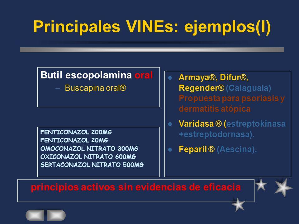 Principales VINEs: ejemplos(I) Butil escopolamina oral –Buscapina oral® Armaya®, Difur®, Regender® (Calaguala) Propuesta para psoriasis y dermatitis atópica Varidasa ® (estreptokinasa +estreptodornasa).