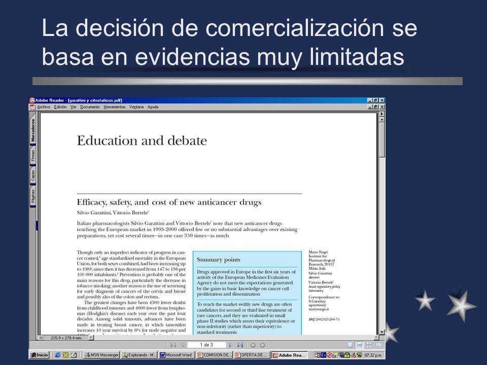 La decisión de comercialización se basa en evidencias muy limitadas La decisión de comercialización se basa en evidencias, a veces, muy limitadas