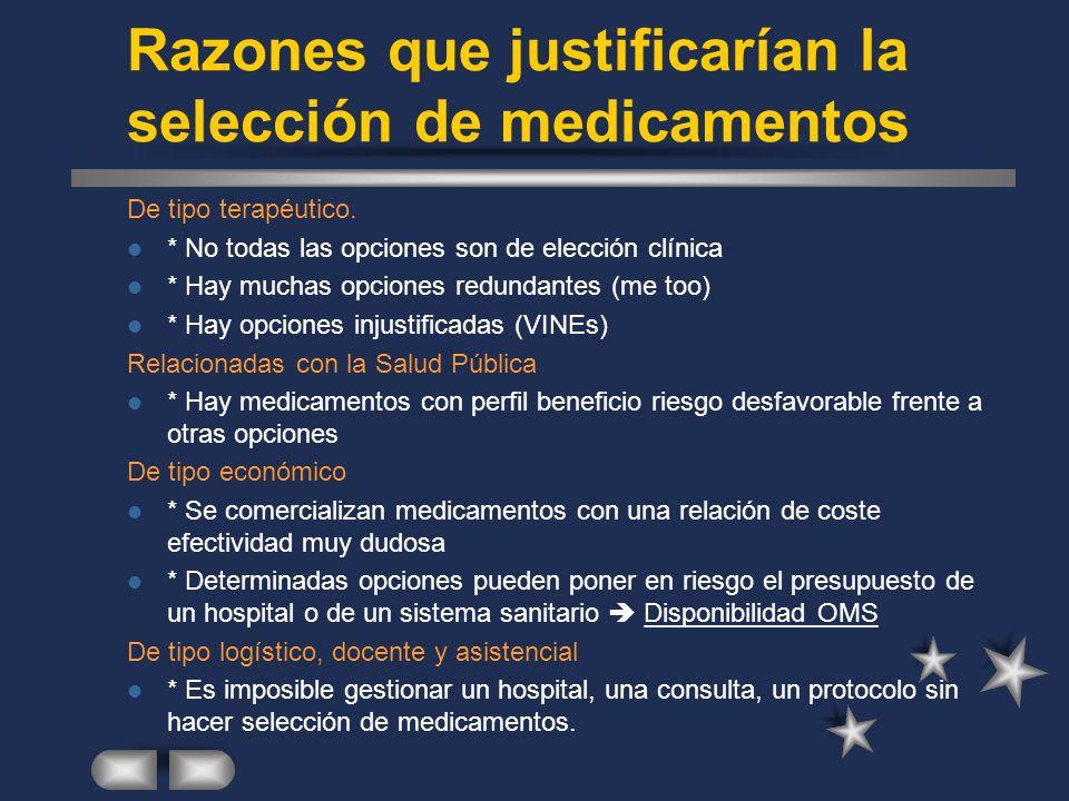 Razones que justificarían la selección de medicamentos De tipo terapéutico.