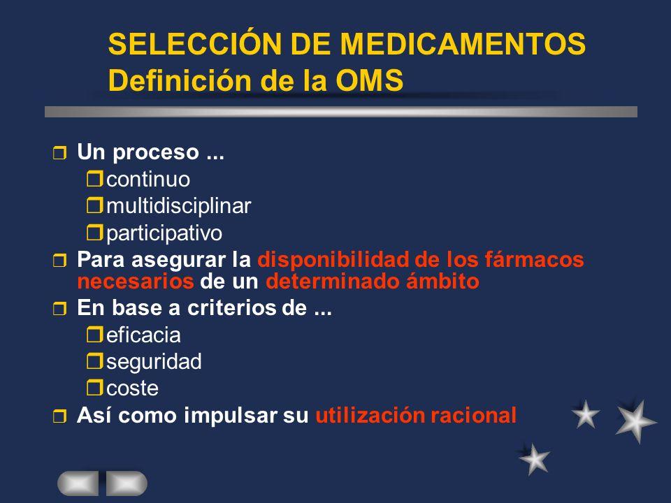 SELECCIÓN DE MEDICAMENTOS Definición de la OMS r Un proceso...