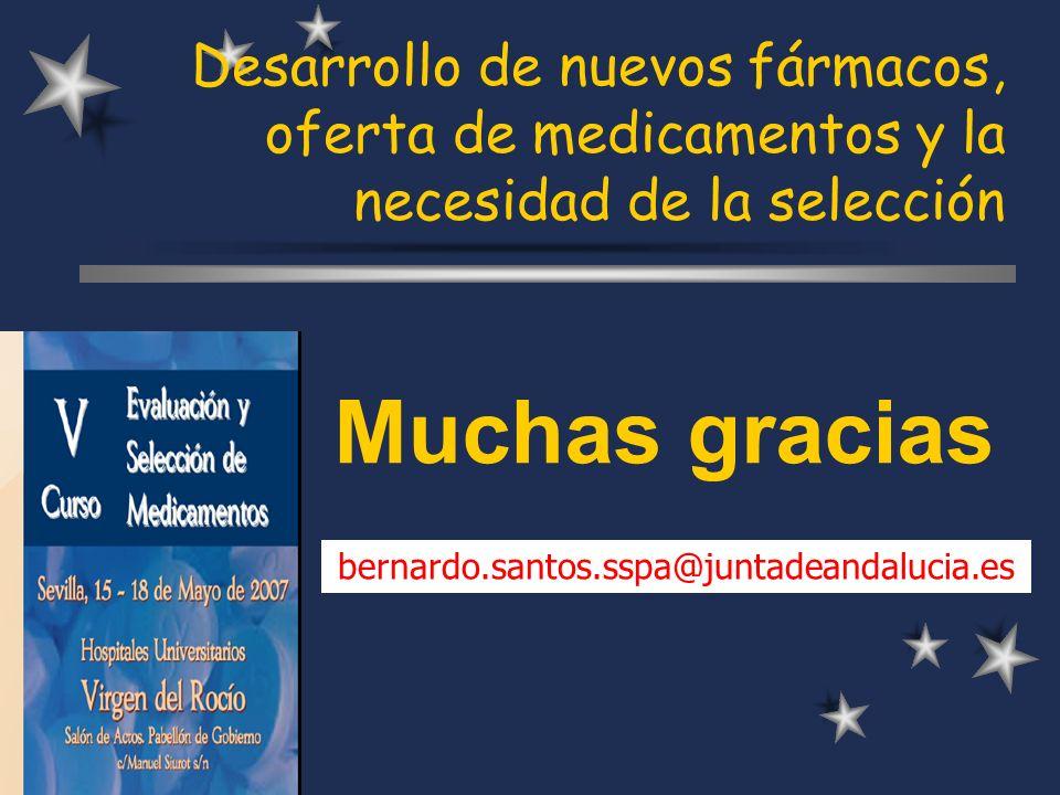Desarrollo de nuevos fármacos, oferta de medicamentos y la necesidad de la selección Muchas gracias bernardo.santos.sspa@juntadeandalucia.es
