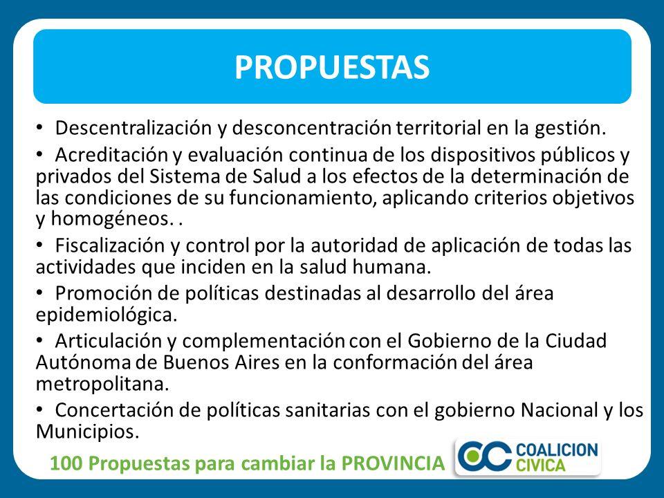 CREACIÓN DEL CENTRO PROVINCIAL DE MITIGACION DE CATASTROFES PROPUESTA 100 Propuestas para cambiar la PROVINCIA
