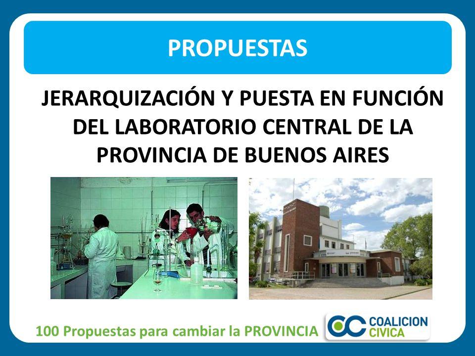 JERARQUIZACIÓN Y PUESTA EN FUNCIÓN DEL LABORATORIO CENTRAL DE LA PROVINCIA DE BUENOS AIRES PROPUESTAS 100 Propuestas para cambiar la PROVINCIA