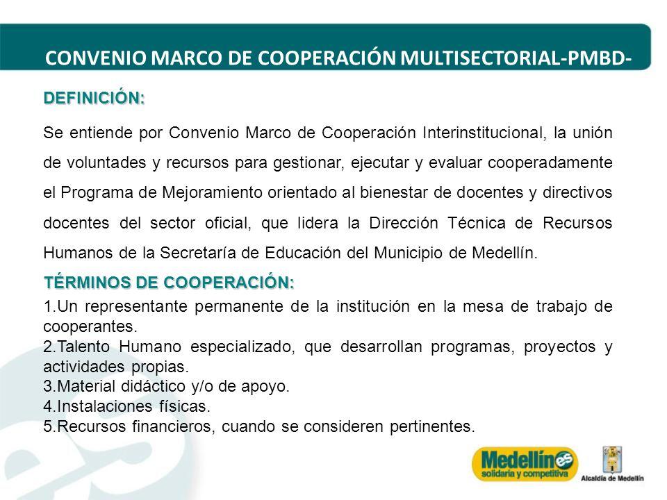 CONVENIO MARCO DE COOPERACIÓN MULTISECTORIAL-PMBD- DEFINICIÓN: Se entiende por Convenio Marco de Cooperación Interinstitucional, la unión de voluntade
