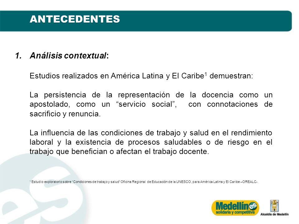 1.Análisis contextual: Estudios realizados en América Latina y El Caribe 1 demuestran: La persistencia de la representación de la docencia como un apo