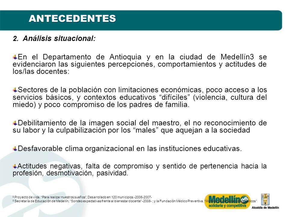 ANTECEDENTES 2. Análisis situacional: En el Departamento de Antioquia y en la ciudad de Medellín3 se evidenciaron las siguientes percepciones, comport