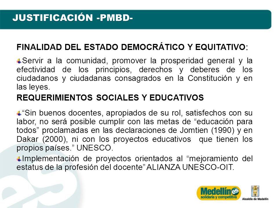 JUSTIFICACIÓN -PMBD- FINALIDAD DEL ESTADO DEMOCRÁTICO Y EQUITATIVO : Servir a la comunidad, promover la prosperidad general y la efectividad de los pr