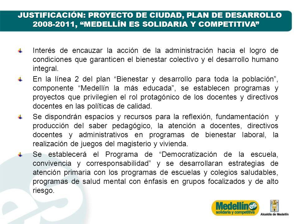 JUSTIFICACIÓN: PROYECTO DE CIUDAD, PLAN DE DESARROLLO 2008-2011, MEDELLÍN ES SOLIDARIA Y COMPETITIVA Interés de encauzar la acción de la administració