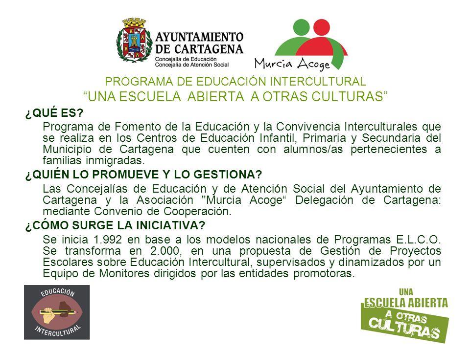 PROGRAMA DE EDUCACIÓN INTERCULTURAL UNA ESCUELA ABIERTA A OTRAS CULTURAS ¿QUÉ ES? Programa de Fomento de la Educación y la Convivencia Interculturales