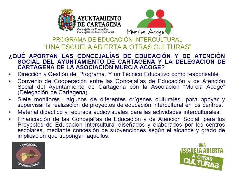 PROGRAMA DE EDUCACIÓN INTERCULTURAL UNA ESCUELA ABIERTA A OTRAS CULTURAS ¿QUÉ APORTAN LAS CONCEJALÍAS DE EDUCACIÓN Y DE ATENCIÓN SOCIAL DEL AYUNTAMIEN