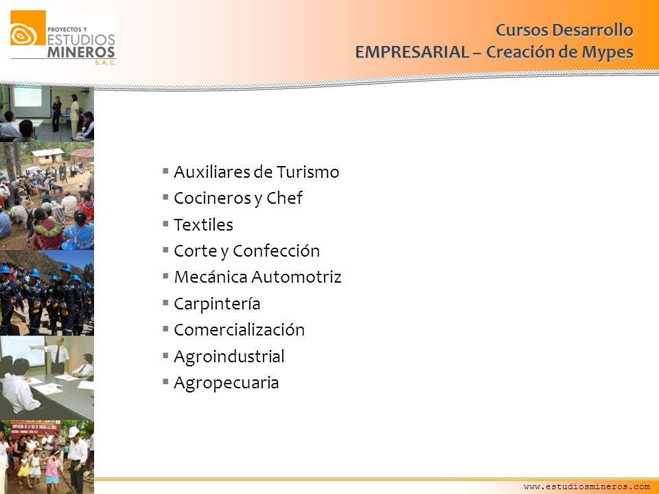 www.estudiosmineros.com Auxiliares de Turismo Cocineros y Chef Textiles Corte y Confección Mecánica Automotriz Carpintería Comercialización Agroindust