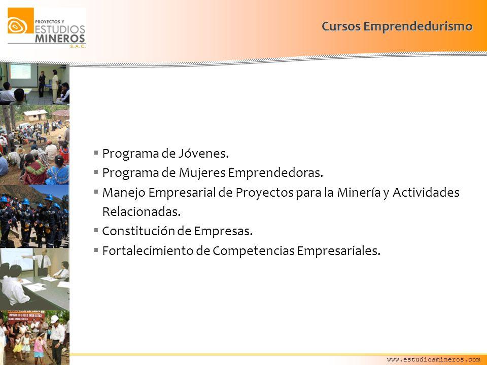 www.estudiosmineros.com Programa de Jóvenes. Programa de Mujeres Emprendedoras. Manejo Empresarial de Proyectos para la Minería y Actividades Relacion