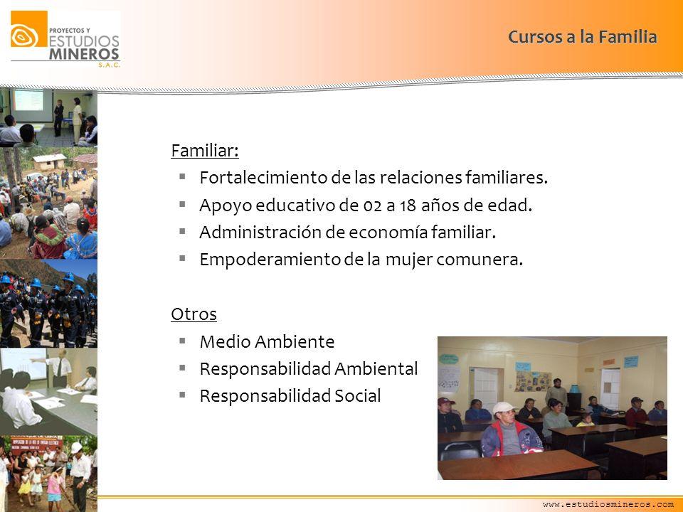 www.estudiosmineros.com Familiar: Fortalecimiento de las relaciones familiares. Apoyo educativo de 02 a 18 años de edad. Administración de economía fa