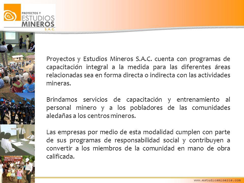 Proyectos y Estudios Mineros S.A.C. cuenta con programas de capacitación integral a la medida para las diferentes áreas relacionadas sea en forma dire