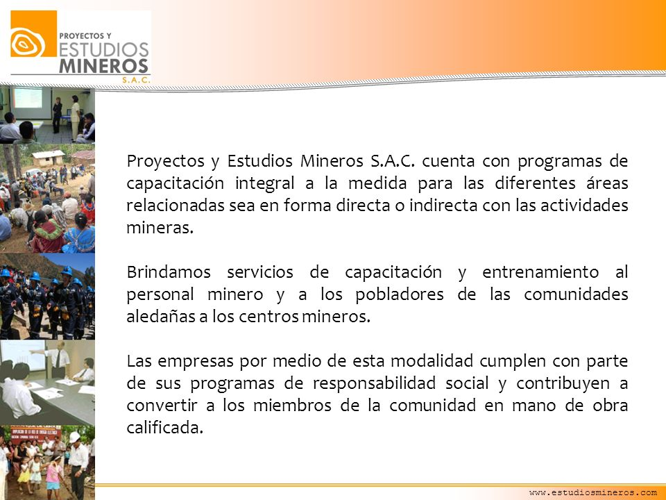 www.estudiosmineros.com CURSOS