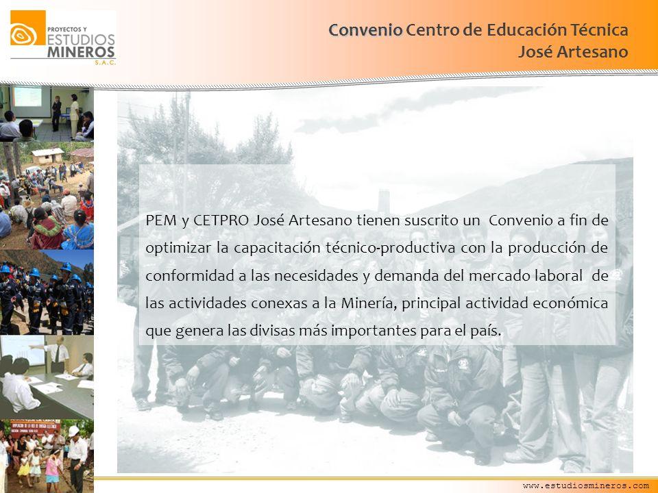 www.estudiosmineros.com Convenio Convenio Centro de Educación Técnica José Artesano PEM y CETPRO José Artesano tienen suscrito un Convenio a fin de op